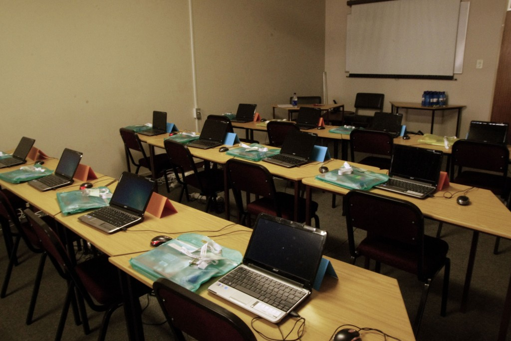 The training room with the stationary packs.